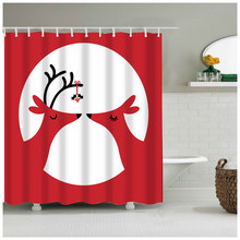 Christmas Cute Deer In Love Are Kissing Each Other Waterproof Fabric Shower Curtain For Happy