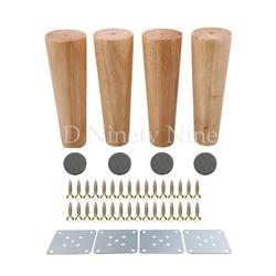 Z drewna dębowego niezawodny 180x58x38mm meble z drewna nogi w kształcie stożka drewniane stopy do szafek miękki stół zestaw 4 w Nogi meblowe od Meble na