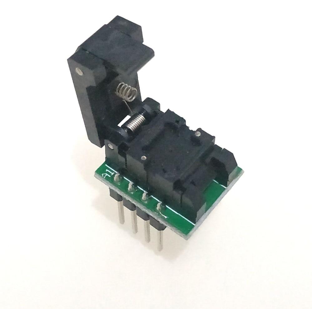 QFN8 DFN8 WSON8 Programming Socket Pogo Pin IC Test Adapter QFN8-1.27-CPO1PNL Pitch 1.27mm Clamshell Size 5*6 Burn in SocketQFN8 DFN8 WSON8 Programming Socket Pogo Pin IC Test Adapter QFN8-1.27-CPO1PNL Pitch 1.27mm Clamshell Size 5*6 Burn in Socket