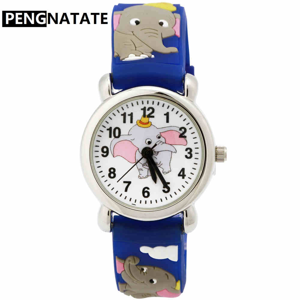 PENGNATATE Children Watches Fashion Cute Cartoon Elephant Silicone Bracelet Wristwatch Hot Sale Kids Watches For Boys Girls Gift