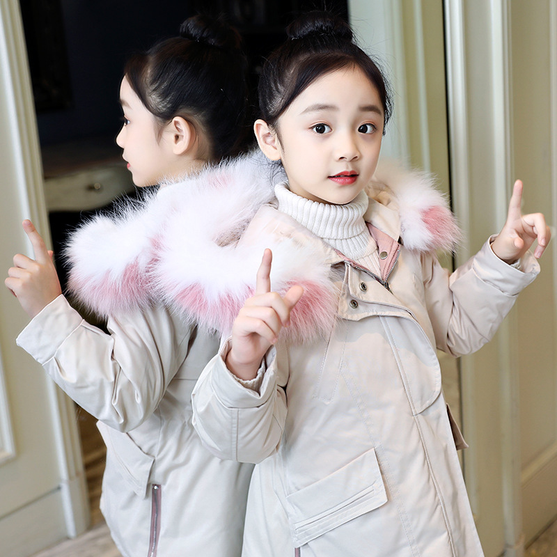 2018 Winter Warm Jackets Girls Kids Fashion Jackets Girls Parka For Kids Thick Fur Collar Outerwear & Coats Christmas Clothes 12 jomake winter jackets for girls kids fashion cute printed girls parka coats thick fleece warm children girls jackets fur hooded