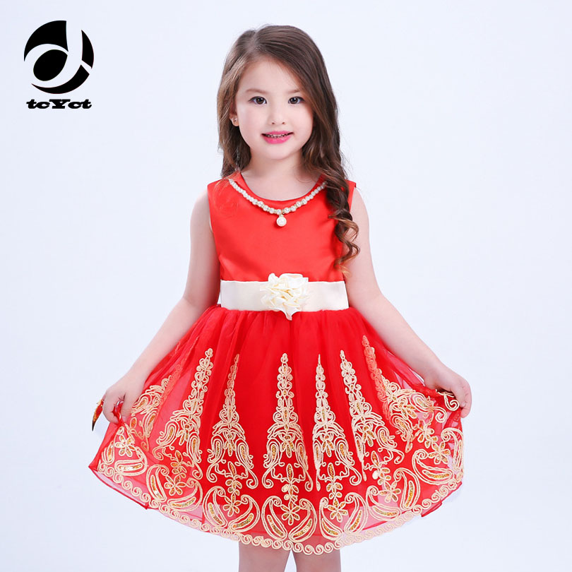 7 Color New Printing Baby Girls Dress 2017 Summer Spring Princess Deguisement Beautiful Pretty Girl Dresses For 3-9 Years Old robe cleopatre deguisement