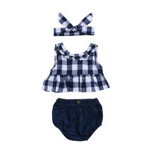 Toddler Baby Girl Suits Set Summer Plaid Skirted T-shirt Tops Denim Shorts Clothes Set Overseas warehouse dropshipping(China)