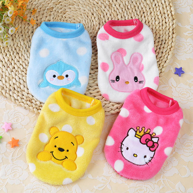 Fleece Dog Clothes Soft Pet Clothing For Dogs Coat Jackets Cartoon Dog Costume Pet Overalls For Dogs Hoodie Puppy Cat Clothes