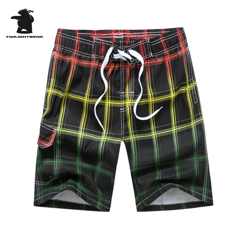 Brand Mens Shot Board Shorts New Man Summer Fashion Plaid Quick Drying Casual Beach Shorts For Men Plus Size 3XL HF1806