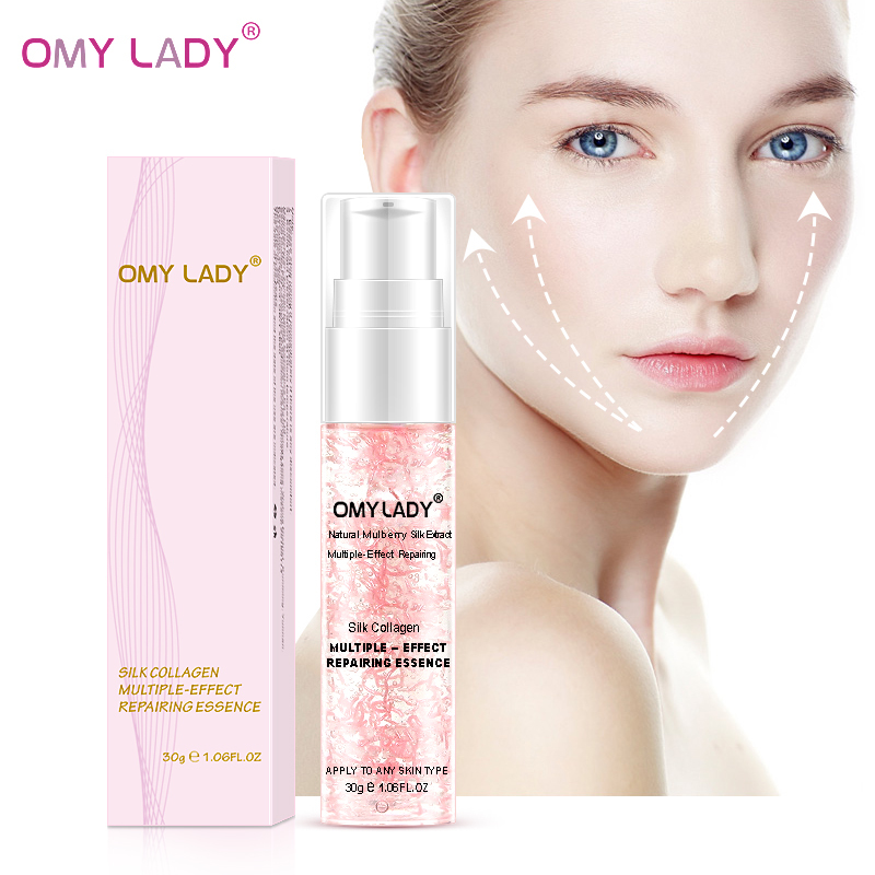 OMYLADY Silk Collagen Facial Essence Antii Aging Antii Wrinkle Repair Face Serum Treatment Acne Shrink Pores Firming Nourishing in Serum from Beauty Health