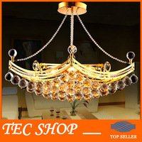 Best Price Modern Luxury Crystal Chandeliers Pendant Lamp Gold Crystal Ceiling Light Fixture Hanging Lusters Manufacturer