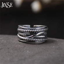 JINSE  925-sterling-silver Braided Hollow Open Rings For Women Do The Old Fashion Lady Sterling Silver Jewelry 8.20mm 3.6G
