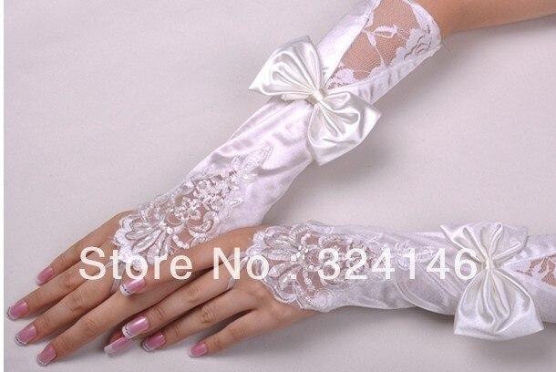 Free shipping  New design Bridal gloves Wedding Gloves fingerless white gloves mesh/ tulle lace glove retail Wholesale