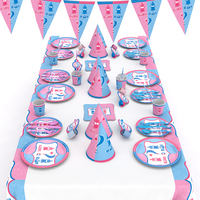 66pcs/set Gender Reveal Party Paper Cups Plates Disposable Tableware Birthday Decoration Baby Shower Festival Party Supplies