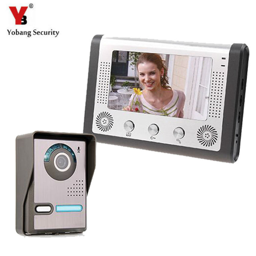 Yobang Security 7 inch TFT  LCD Color Video door phone Intercom Doorbell System Kit IR Camera doorphone monitor  door intercom tmezon 4 inch tft color monitor 1200tvl camera video door phone intercom security speaker system waterproof ir night vision 4v1