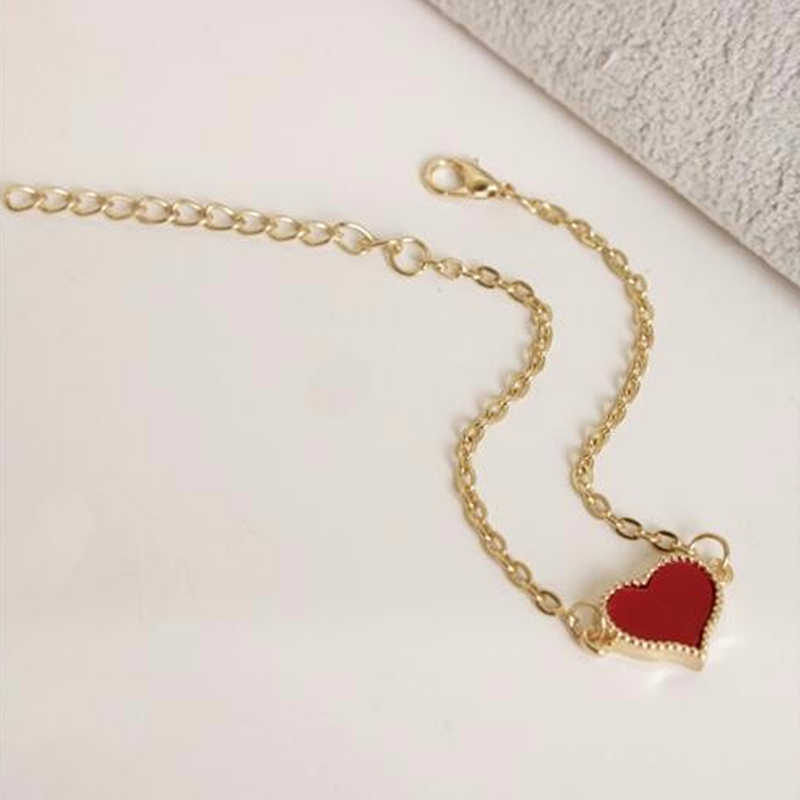 SL01 الساحرة الأحمر القلب أساور للنساء الفتيات الذهب اللون المعادن أساور Statement البيع بيان مجوهرات بالجملة