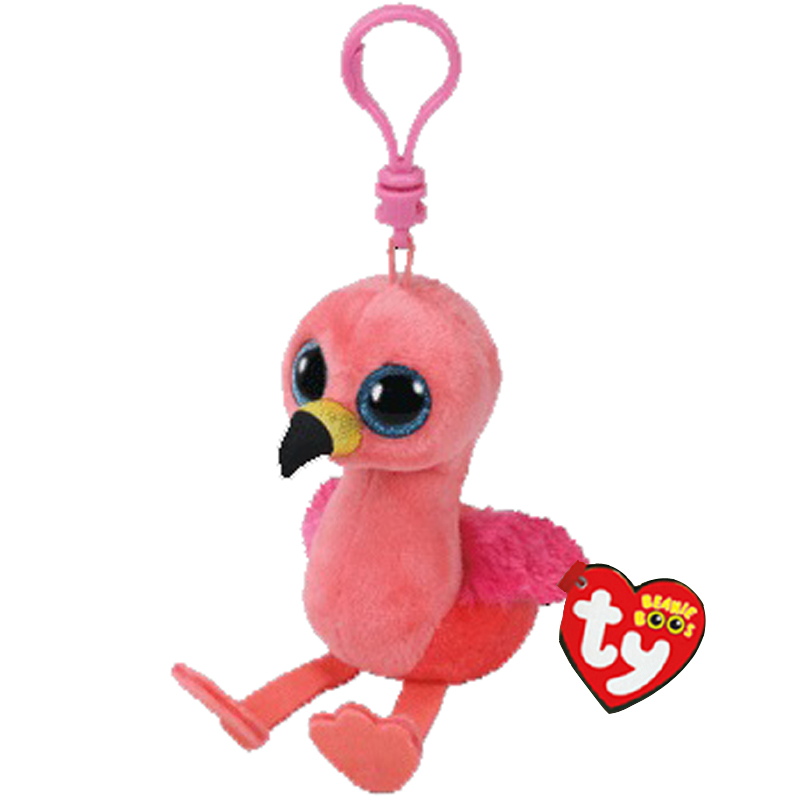 New Pink Flamingo Clip Key Chain Plush Ty GILDA