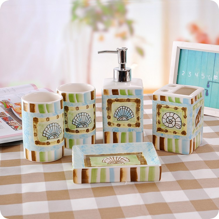 ocean dream ceramic bathroom set of five pieces fashion ceramic sanitary combination wash tool bathroom accessories set