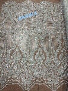 Image 1 - 5yd/lot tessuto a rete francese con incollato scintillio JIANXI.C 71006 per il vestito da partito di scintillio tessuto di pizzo