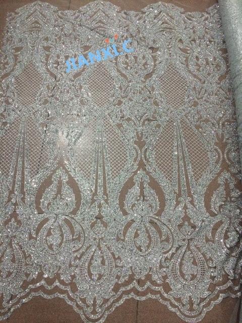 5yd/lot tessuto a rete francese con incollato scintillio JIANXI.C 71006 per il vestito da partito di scintillio tessuto di pizzo