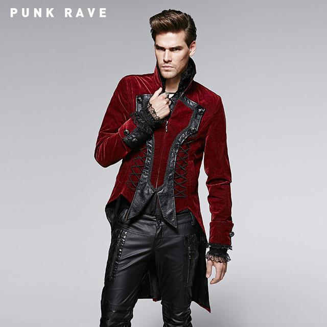 Punk Delírio Gótico Dos Homens Material de Poliamida Vermelho Botões De Metal Em Relevo Padrão de Flor Casaco de Inverno Longo Casaco De Couro Com Gola Alta