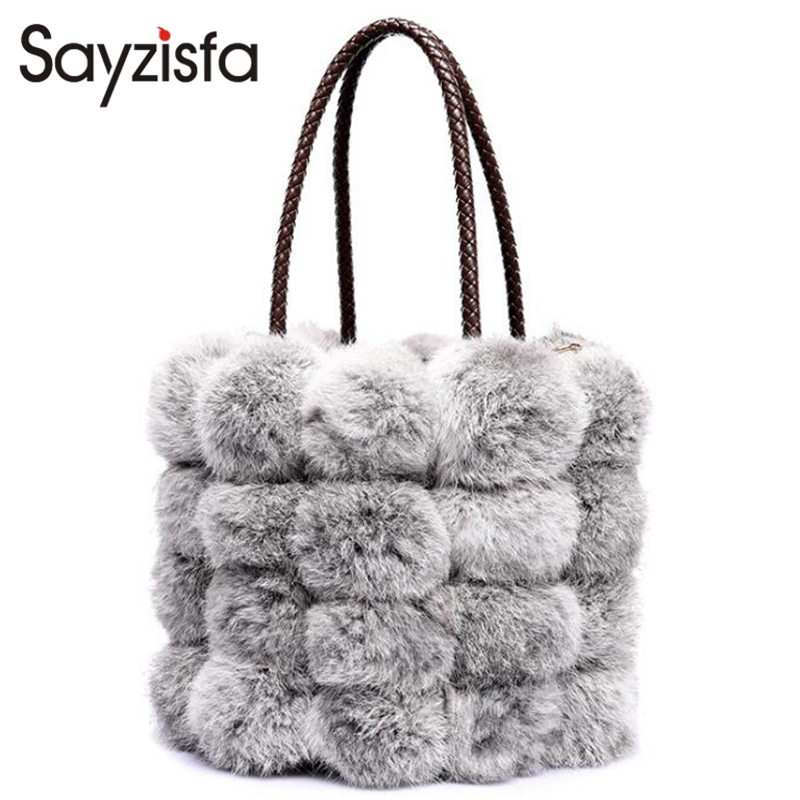 Sayzisfa Brand New Real Fur bags Women Luxury Rabbit fur Bucket bag female plush Toets Handbag Ladies Fashion Messenger bag T557