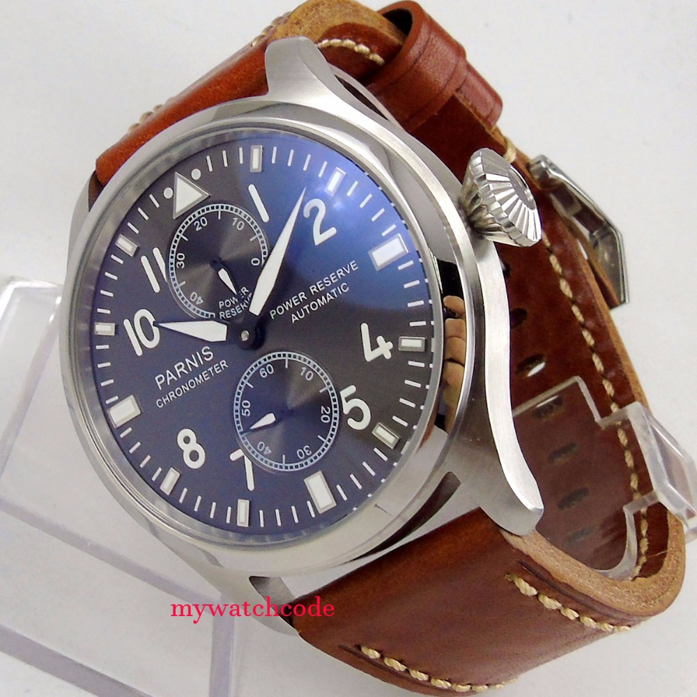 47mm parnis gray dial power reserve ST automatic movement mens watch P273B все цены