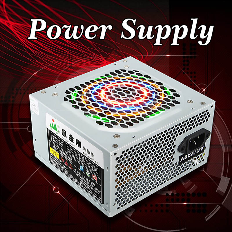 Computer PC Power Supply 400 Watt Computer PC CPU Power Supply 20+4-pin 120mm Fans ATX PCIE W/ SATA