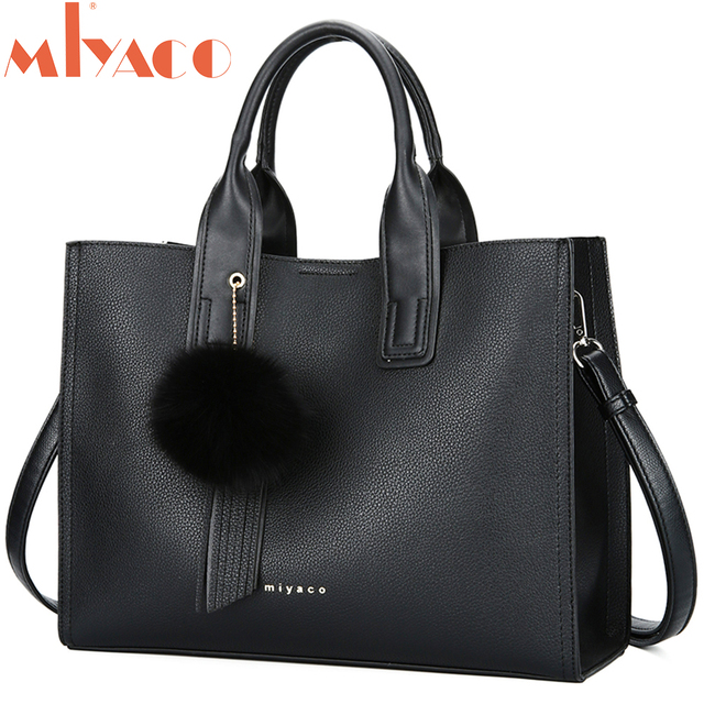 MIYACO Handbag for Women Leather Tote Bags Designer Handbags Elegant Crossbody Bags Ladies Hand Bags with Tassel&Furry ball