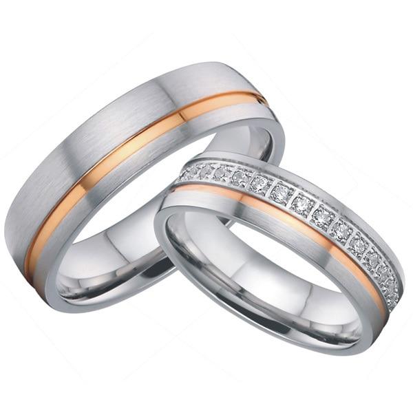 Personnalisé titane bijoux de mariée paire rose or couleur incrusté bandes de mariage anneaux ensembles de l'alliance pour les couples