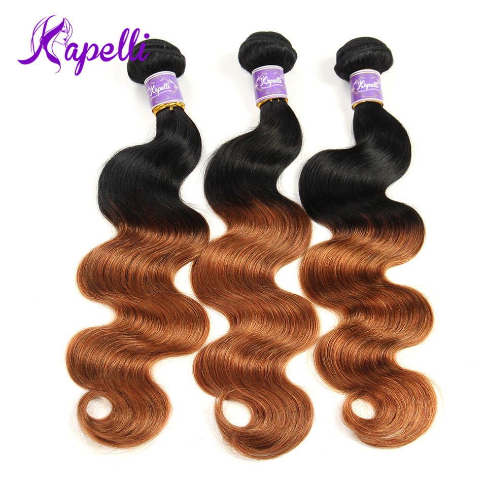 Hair Extensions & Wigs Diligent Kapelli Hair Two Tone Ombre Hair Pre-colored Peruvian Body Wave 3 Bundles 1b/30 Ombre Human Hair Bundles Non-remy Free Shipping