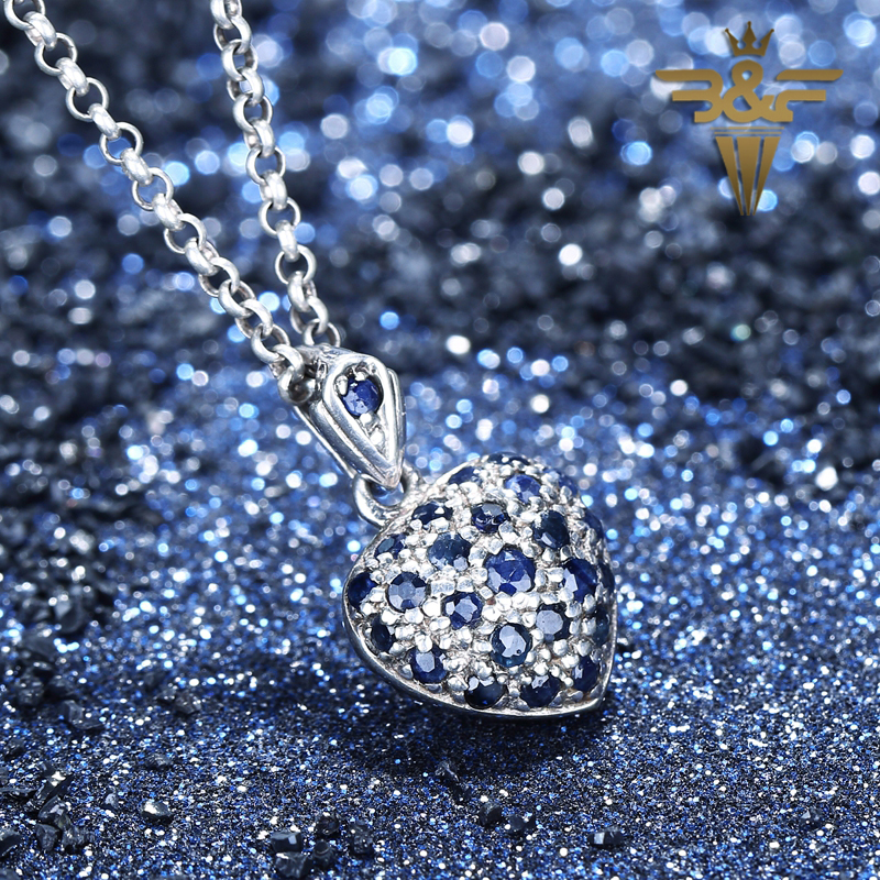 Private custom AAA Sapphire Heart Love Handmade Beauty  925 Silver Pendant Jewelry For Lady Private custom AAA Sapphire Heart Love Handmade Beauty  925 Silver Pendant Jewelry For Lady
