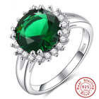 Unique fashion Gift jewelry Pleasant princess Green Cubic Zirconia White CZ 925 Sterling Silver Ring For Women non-fading