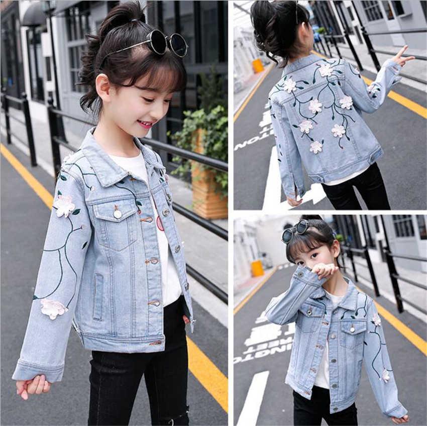 e5c8f241324 2-12Years большой модная одежда для девочек с аппликацией Джинсовые куртки  пальто Детская верхняя одежда
