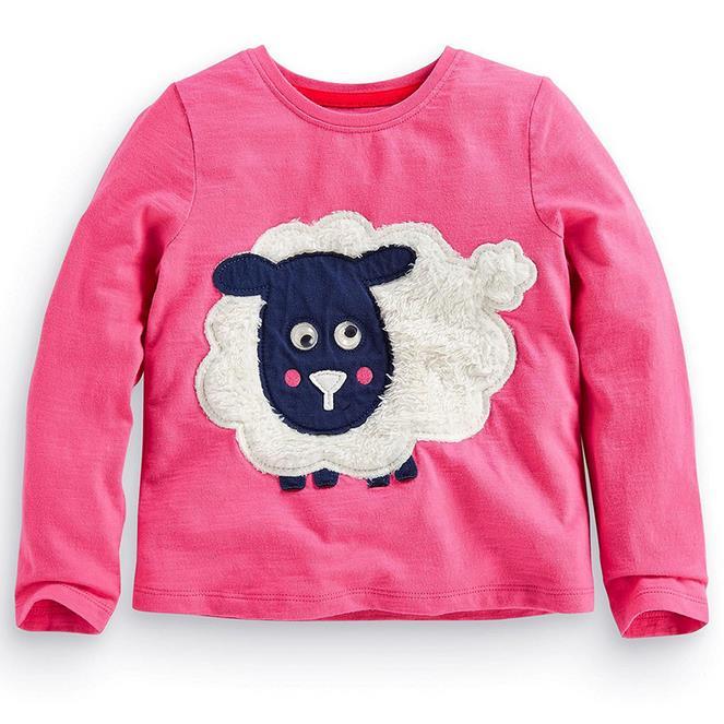 2t-7t years Girls T-shirt Kids Tees Baby girl brand t shirts Children tees Long Sleeve 100% Cotton Cute sheep shirts USA style