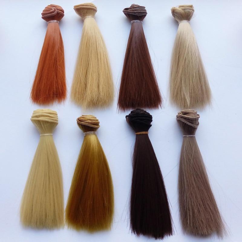 Оптові 20PCS / LOT Багатокольоровий DIY BJD SD прямі перуки ляльки синтетичні волосся для ляльок