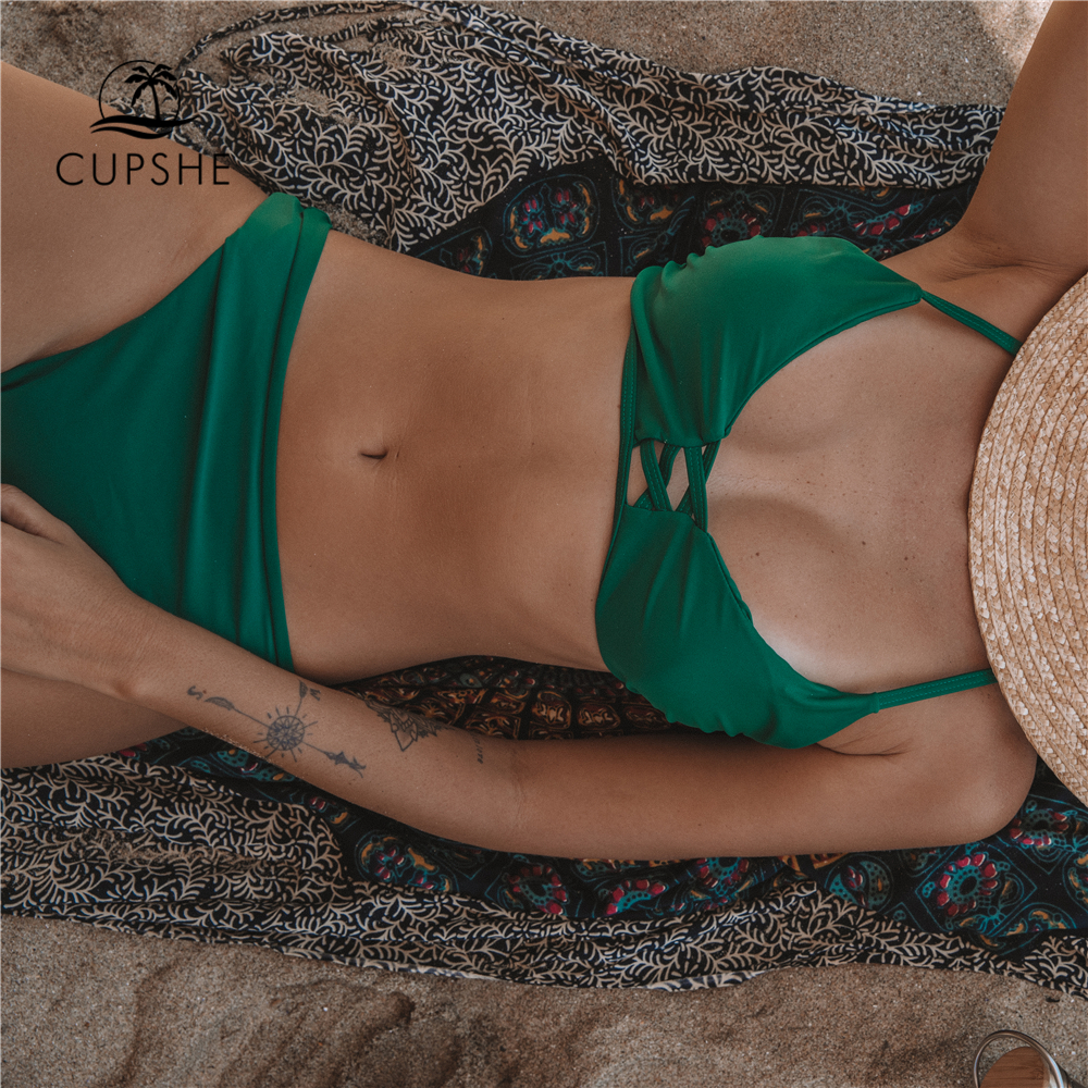 Cupshe Green Solid Bikini Set Women Push Up Cut Out Plain Two Pieces Swimwear 2020 Beach Strappy Sexy Bathing Suit Swimsuits 1