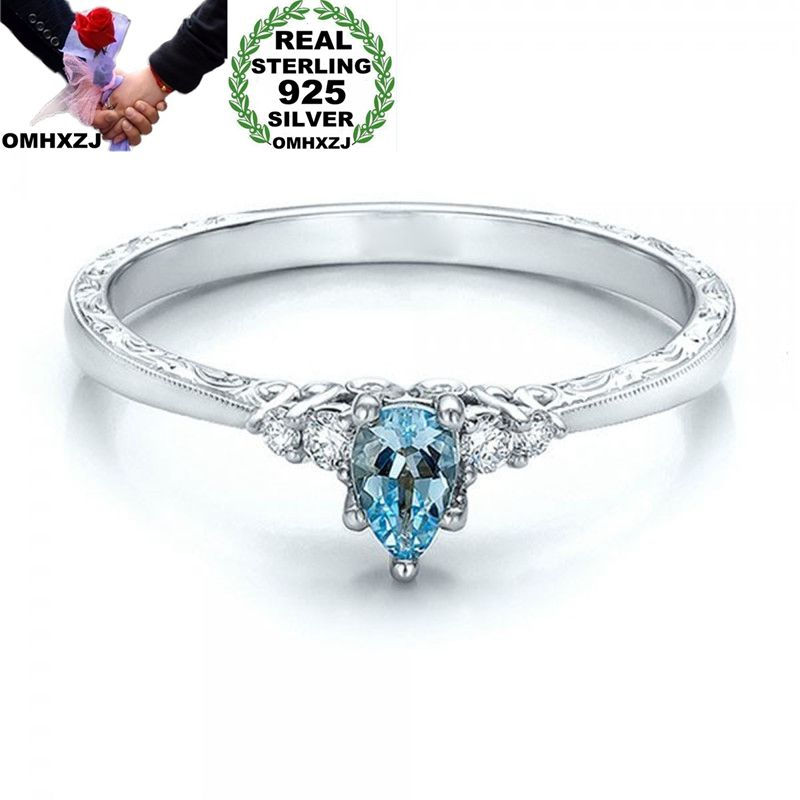 OMHXZJ Wholesale European Fashion Woman Girl Party Wedding Gift Sea Blue Water Drop Topaz 925 Sterling Silver Ring RR194