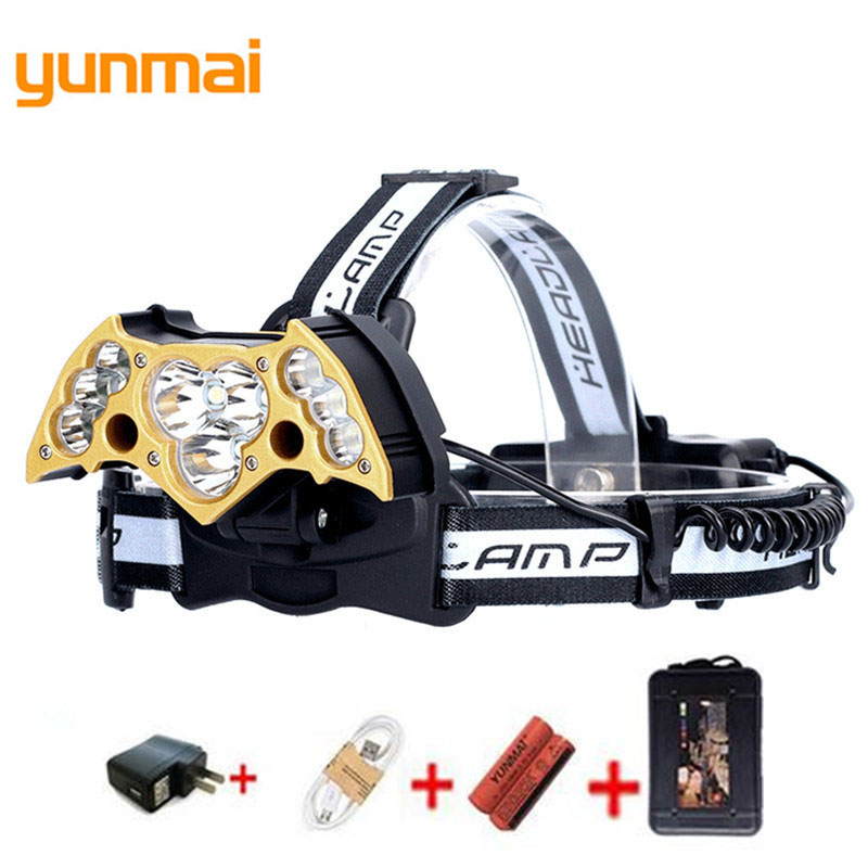 LED Headlight 10000 Lumen Chips 5/7/11 LED Head Lamp Flashlight Lanterna 5 Model Rechargeable Led Headlamp torch For Camping Q27