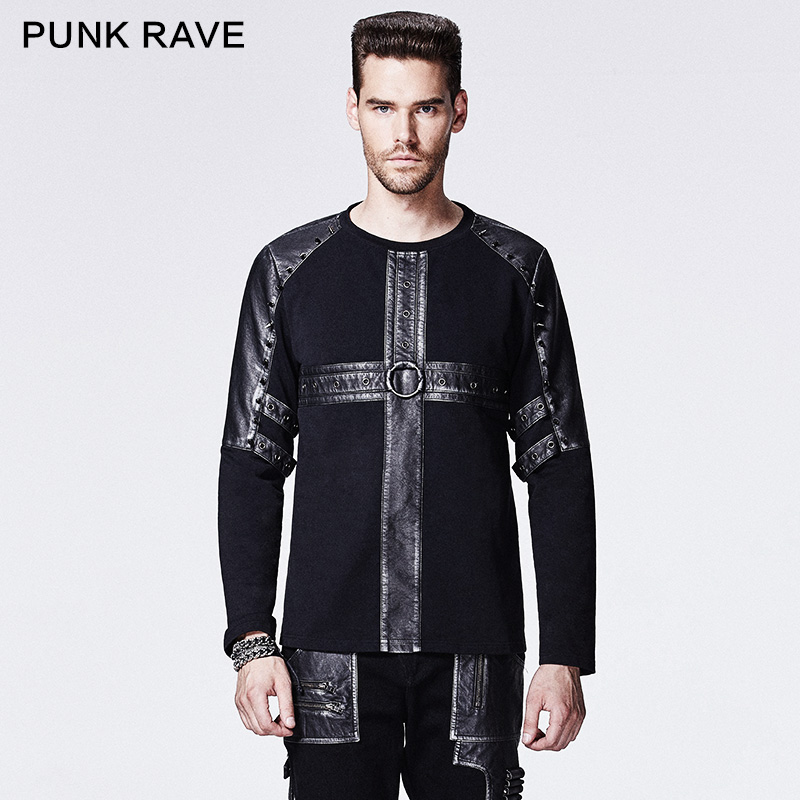 Punk Rave Hot Sale Black Gothic Rivet Studded Casual Man Shirts Leather Metal Rock Cross Pattern