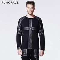 Punk Rave Hot Sale Black Gothic Rivet Studded Casual Man Shirts Leather Metal Rock Cross Pattern
