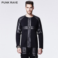 Punk Rave Hot Sale Black Gothic Rivet Studded Casual Man Shirts Leather Metal Rock Cross Pattern Shirts
