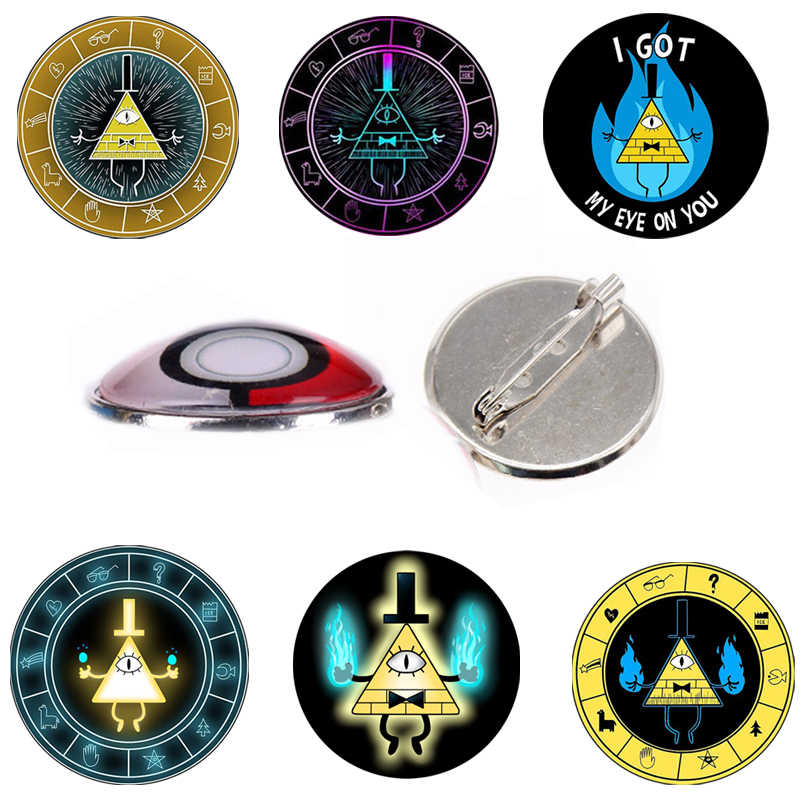 2 PCS Gravitiation Gravity Falls Brooches Pin Glass Dome Badge Mysteries BILL CIPHER WHEEL Time Symbol For Cosplay T Shirt Hat