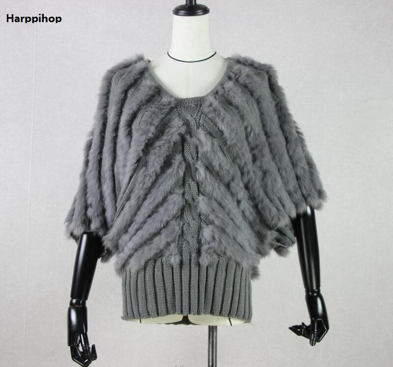 2019 Top quality Women Real Fur coat Genuine Rabbit Fur Knitted Gilet Fur Vest Lady Winter Warm jacket vest-in Faux Fur from Women's Clothing    2