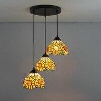 American Garden Sun Flower 3 Heads Stained Glass Western Style Restaurant Pendant Lights 110 240V Dia43CM