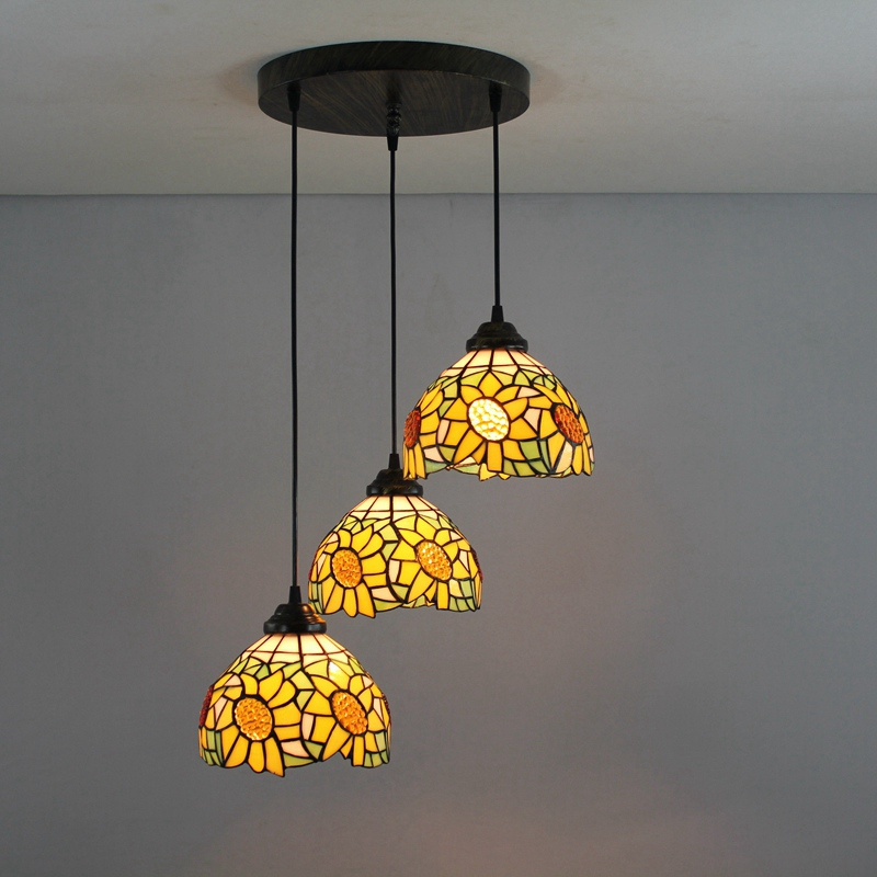 American Garden sun flower 3 heads Stained glass Western style Restaurant Pendant Lights 110-240V Dia43CM bar pandant lamps E27 ...