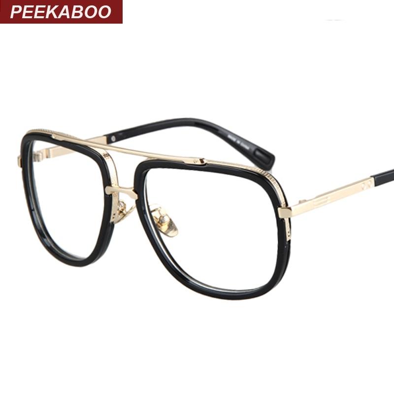 Best Glasses Frames For Big Eyes : Peekaboo Gold metal eye glasses frames for men brand flat ...