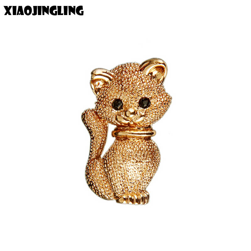 XIAOJINGLING Charm 3D Cat Brooches Rhinestones Crystal Cute Brooch Pins Elegant Fashion Women Jewelry Christmas Ornament Gifts