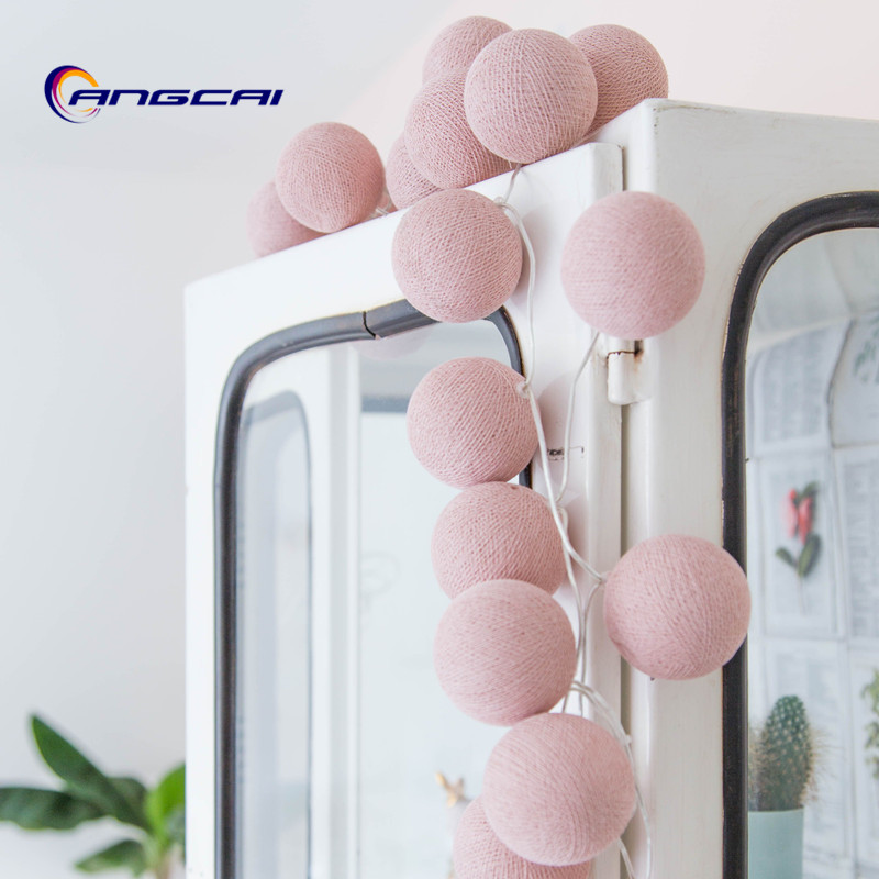 Pure Solid Color Cotton Ball String Fairy Lights Party Home Patio Wedding Romantic Decor , AC110-220V Or Battery Powered
