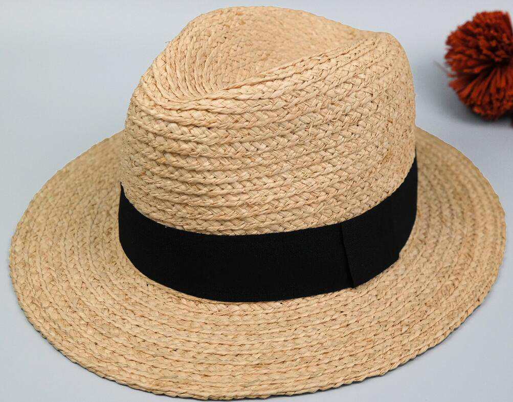 75823098d 8pcs Brand Men Black Raffia Straw Fedora Hats 63cm Big Size XXL Summer  Panama Hat Beach Sun Caps Nature Straw Fedoras Wholesale-in Sun Hats from  Men's ...