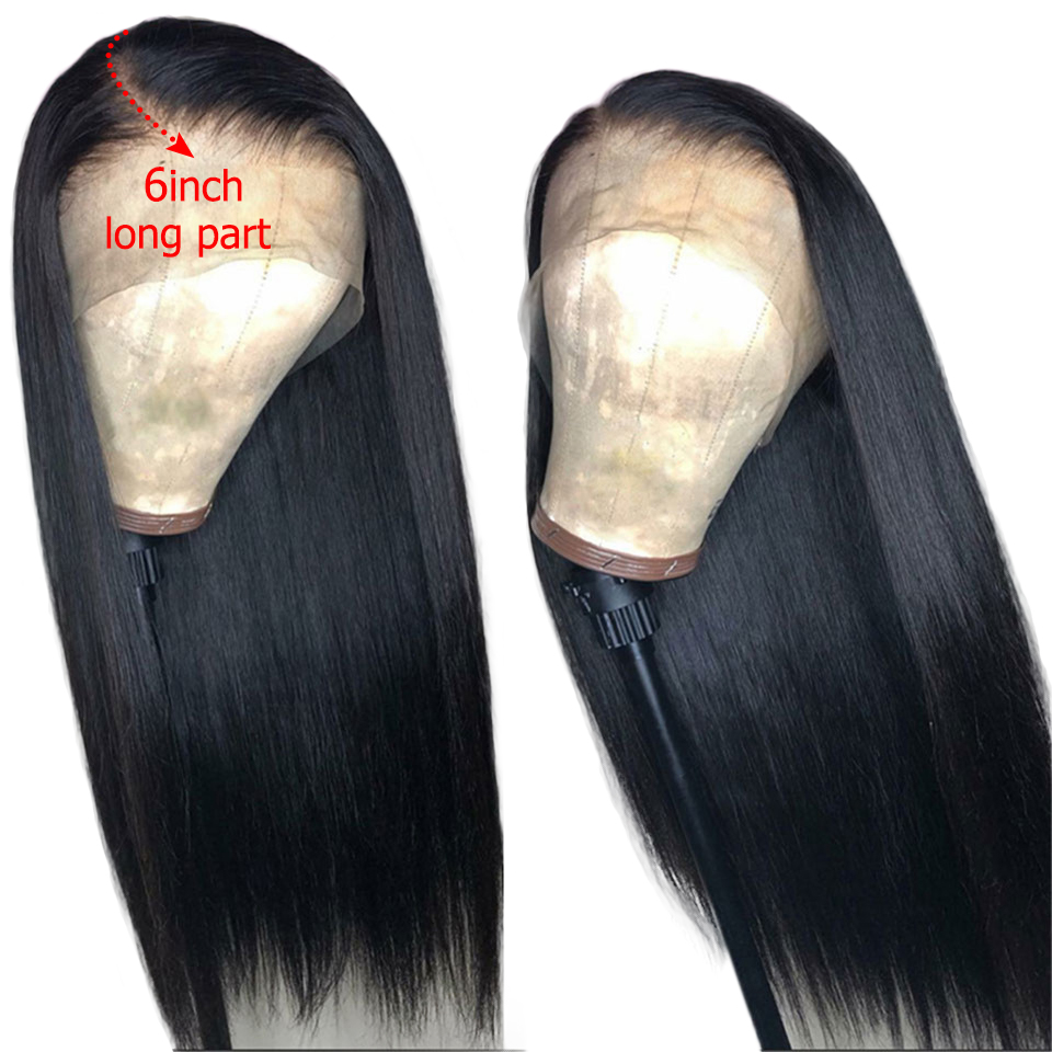 Wigs Remy-Hair Lace-Frontal 360 Straight for Women Brazilian 150-% with Deep-Part 6inch title=