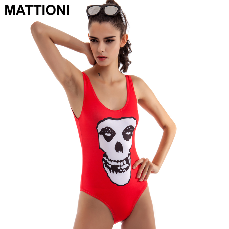 MATTIONI Sexy Women Swimsuit Printed Skeleton Letters One-Piece Swimsuit Bikini Vest Shorts Beach Bathing Suits Swim Bodysuit
