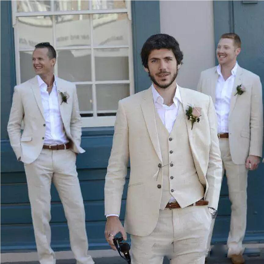 2019 High Quality Ivory Beige Beach Mens Suits 3 Piece (Jacket+Pant+Vest) Custom Made For Marriage Groom Tuxedo Costume Homme