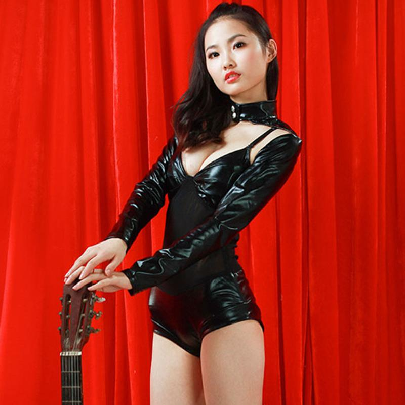2016 Fashion Female Singer Stage Show Leather Jumpsuits -4531